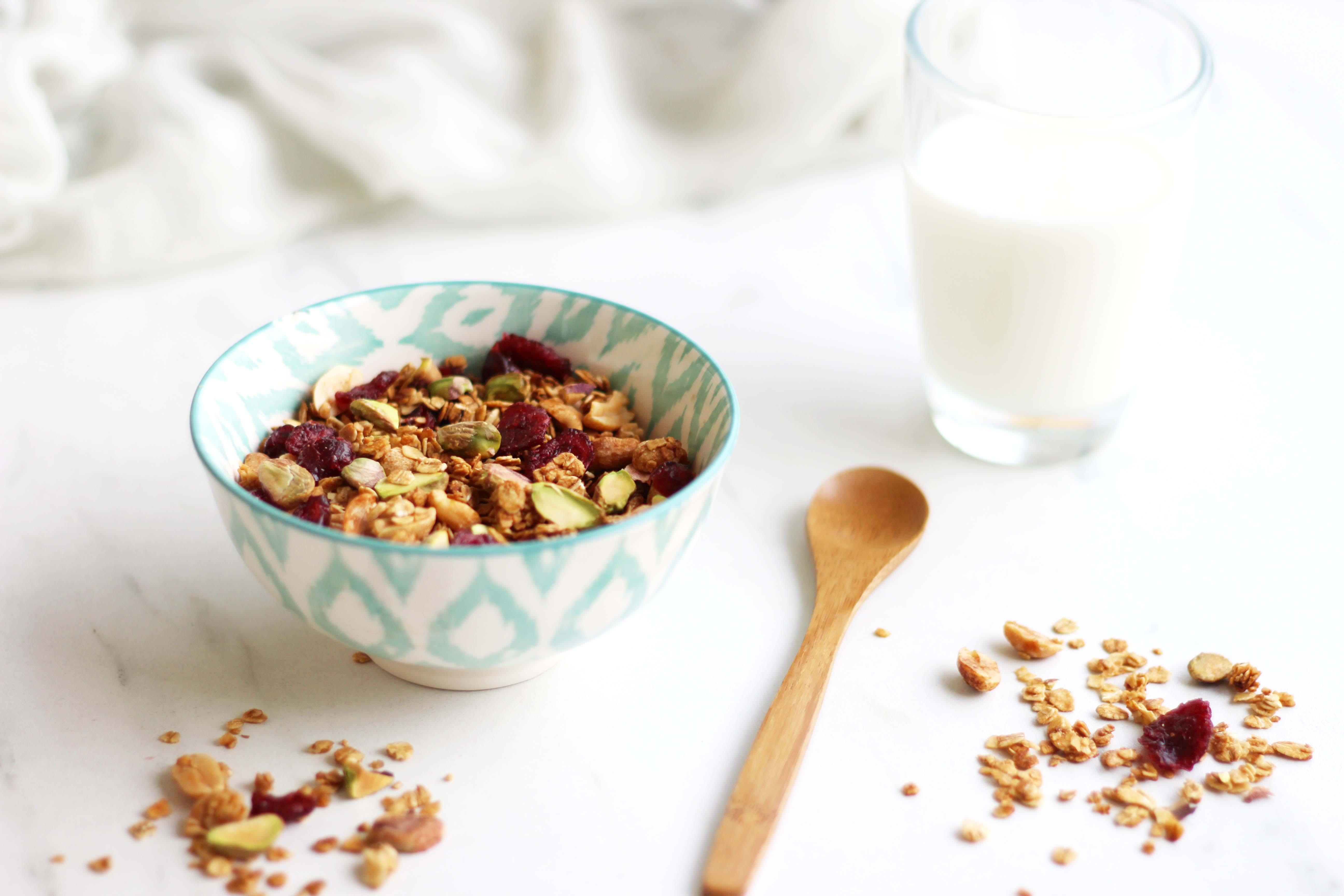 Granola maison aux cacahuètes, pistaches et cranberries