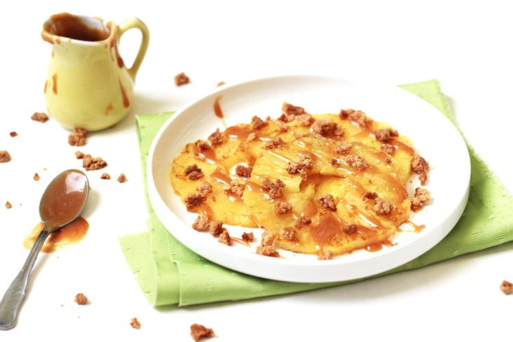 Ananas rôti au caramel