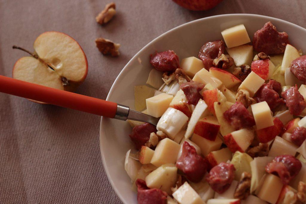 Salade hivernale endives pommes gésiers