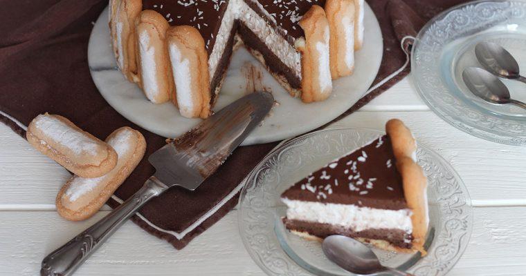Charlotte au chocolat et à la noix de coco