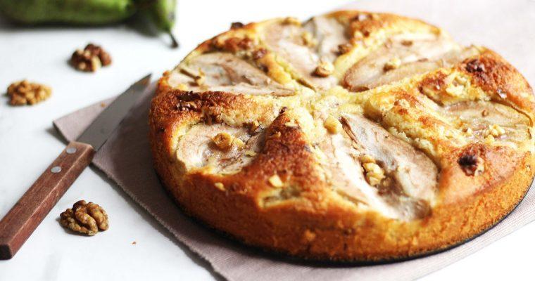 Gâteau aux poires, frangipane et noix