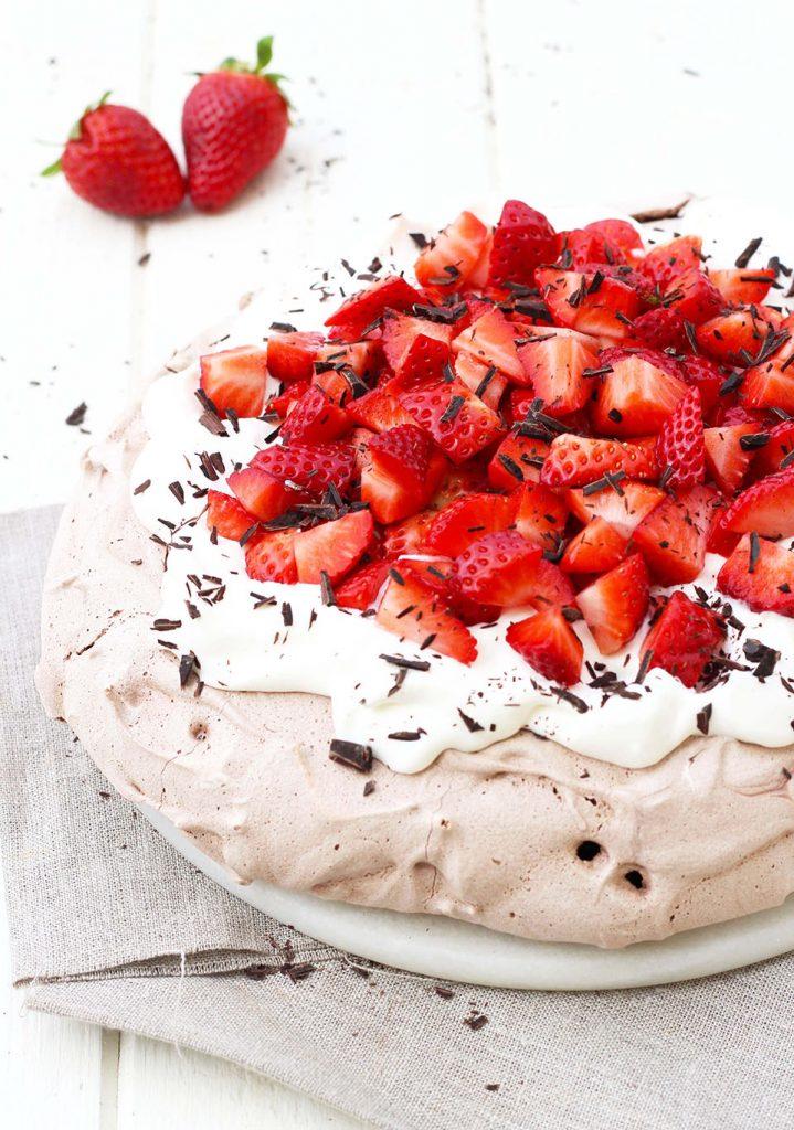 Pavlova chocolat fraise