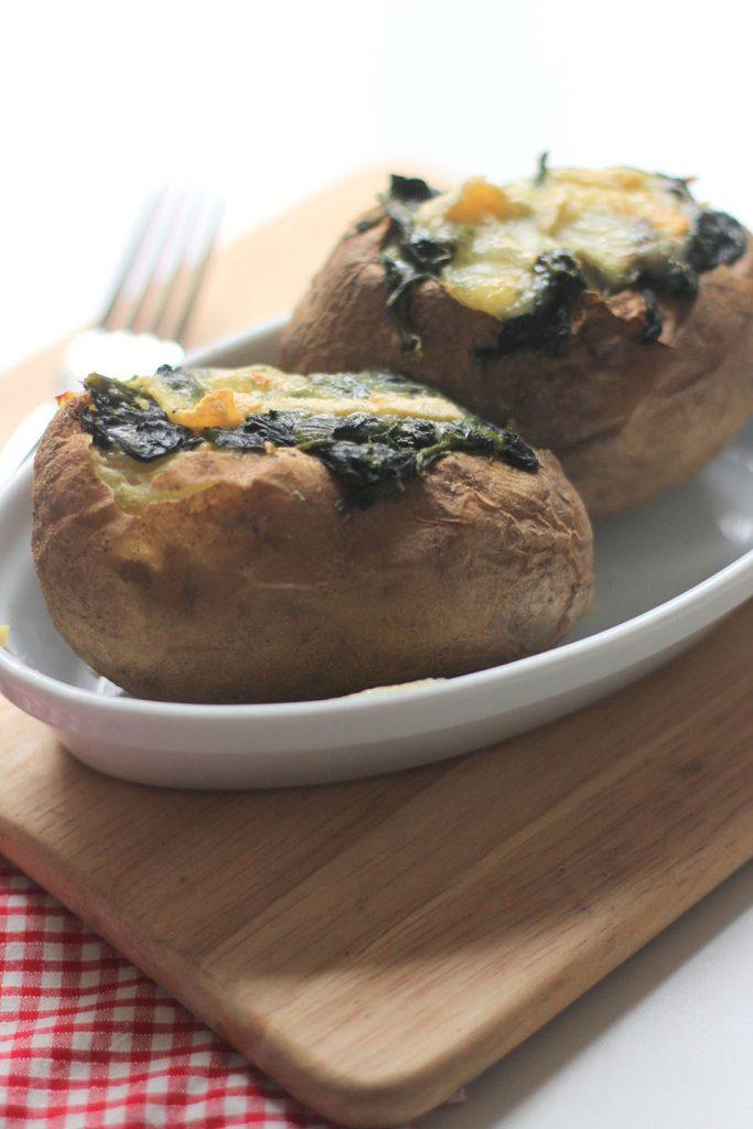Pommes de terre au four farcies aux épinard et reblochon 2