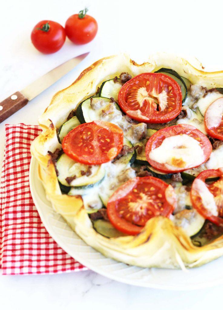 Tarte légère aux courgettes, tomates et boeuf 2