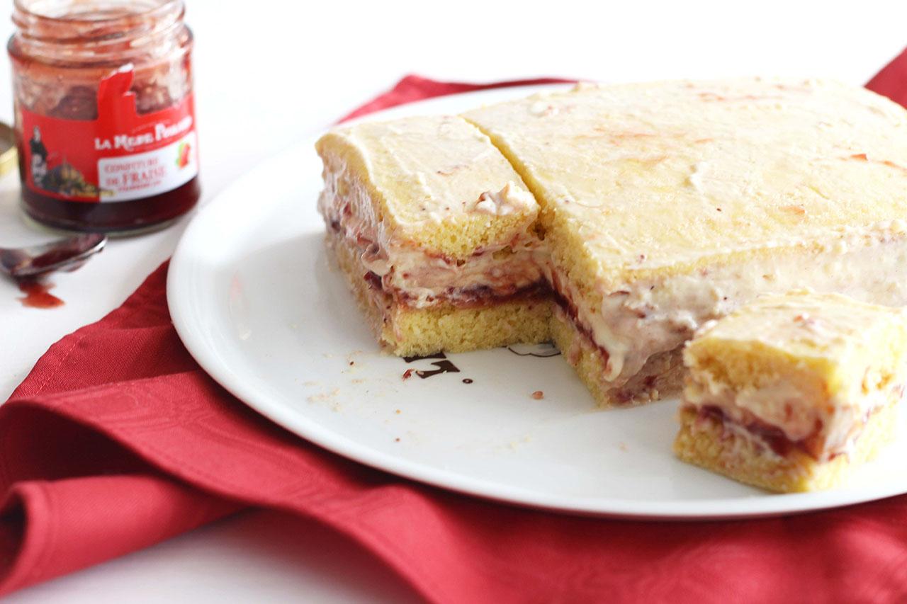 Gâteau cémeux vanille fraise 4