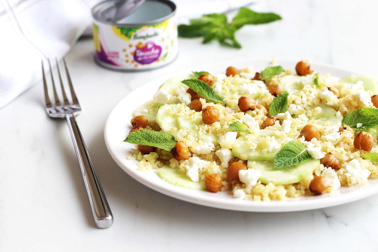 Salade de boulghour, concombre, pois chiche, feta et menthe 3