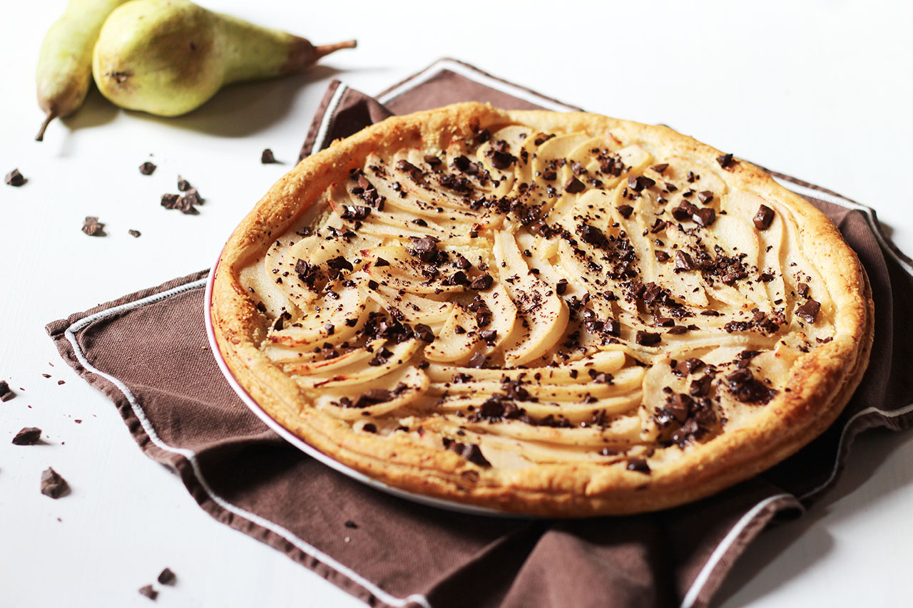 Tarte fine poire et chocolat