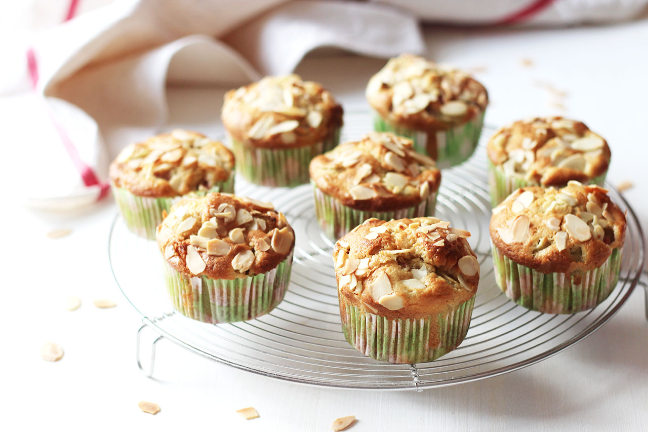 Muffins à la rhubarbe et au chocolat blanc